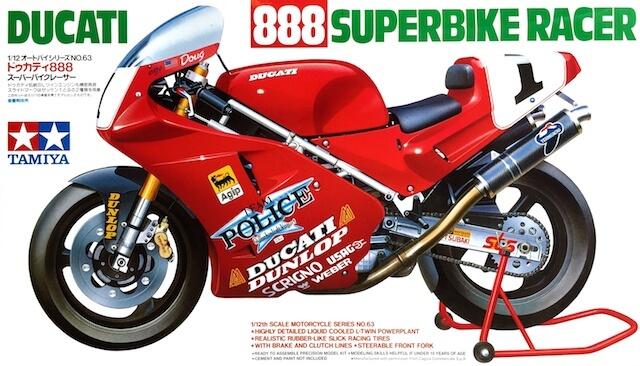 โมเดลประกอบ รถมอเตอร์ไซค์ดูคาติ Ducati 888 Superbike Racer 1/12