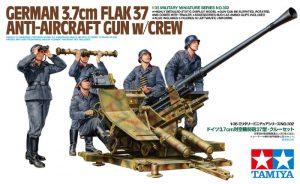 โมเดลปืนต่อสู้อากาศยานพร้อมพล German 3.7cm FlaK37 1/35