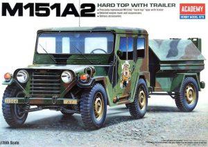 โมเดลรถจิ๊บ AC13012 M151A2 HARD TOP with TRAILER 1/35