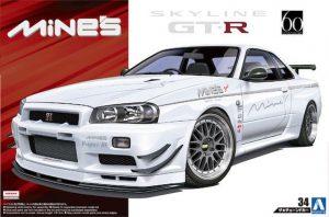 โมเดลรถนิสสัน Mines BNR34 Nissan Skyline GT-R 1/24