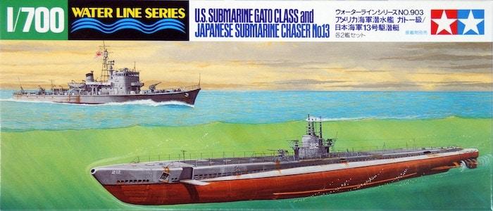 โมเดลเรือดำน้ำ TAMIYA 31903 US SUBMARINE GATO CLASS & JAPANESE CHASER NO.13 1/700