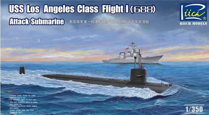 โมเดลเรือดำน้ำ USS Los Angeles Class Flight I (688) Attack submarine 1/350