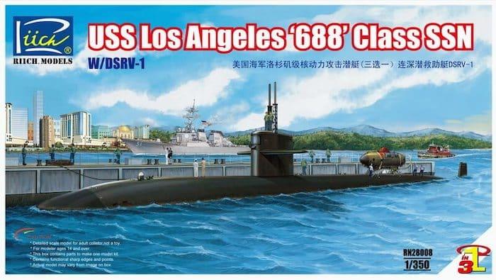 """โมเดลเรือดำน้ำ USS Los Angeles """"688"""" Class SSN w/DSRV-1 (3in1) 1/350"""