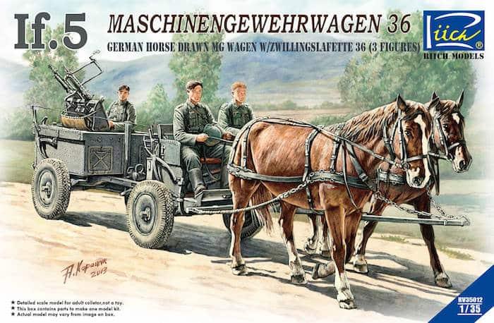 โมเดลรถทหารม้า WWII German IF-5 Horse Drawn MG Wagon