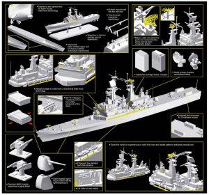 โมเดลเรือลาดตระเวน U.S.S. Arkansas CGN-41 (1/700)
