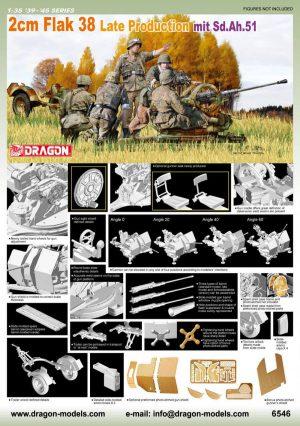 โมเดลฟิกเกอร์ Dragon DR6546 2cm Flak 38 Late W/Sd.Ah.51 1/35