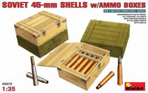 โมเดลอาวุธ SOVIET 45-mm SHELLS w/AMMO BOXES 1:35