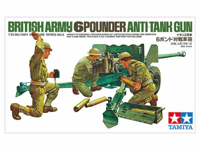 โมเดลฟิกเกอร์และปืนใหญ่ BRITISH ARMY 6POUNDER ANTI-TANK GUN 1:35