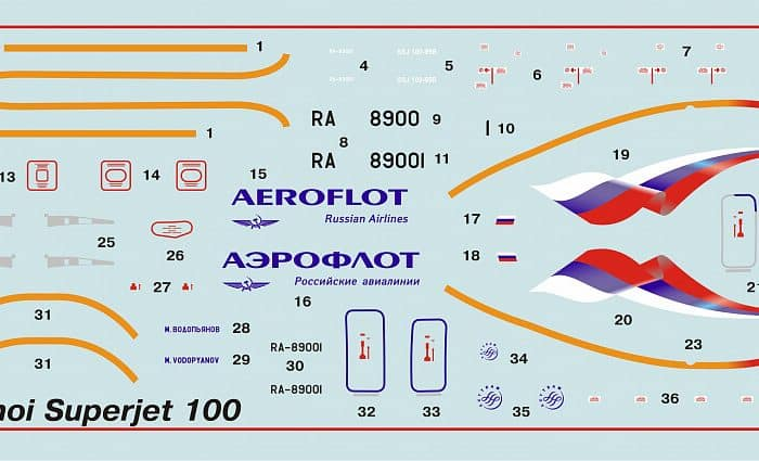 โมเดลเครื่องบินเจ็ท Sukhoi SuperJet 100 ของทอ.ไทย ขนาด 1/144