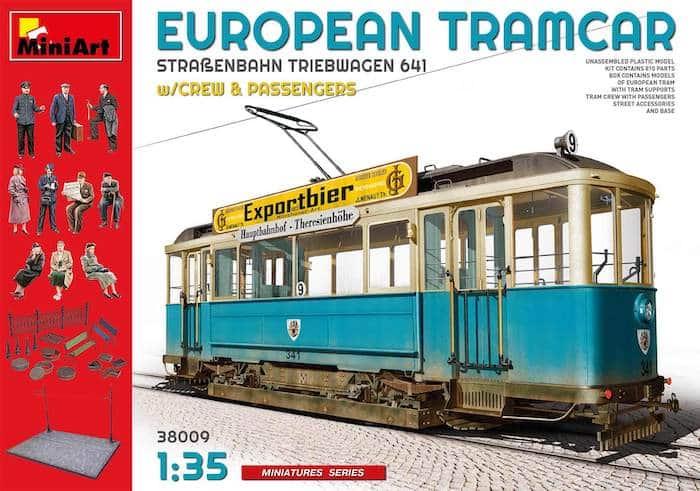 โมเดลรถไฟพร้อมฉากคน EUROPEAN TRAMCAR w/CREW & PASSENGERS 1:35