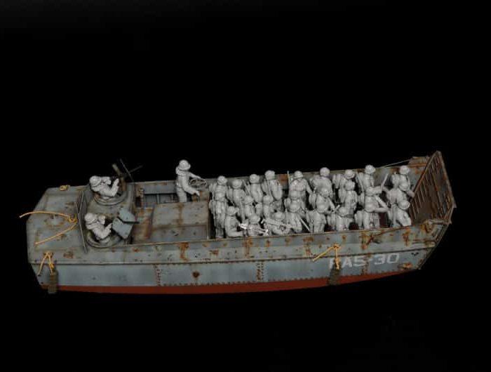 โมเดลเรือระบายพลอเมริกัน Italeri Landing Craft LCVP 28 Figures 1/35
