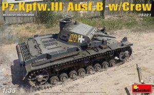 โมเดลรถถัง MINIART MI35221 Pz.Kpfw.III Ausf.B w/Crew 1/35