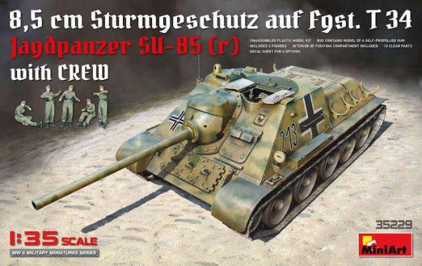 โมเดลรถถัง MINIART MI35229 Jagdpanzer SU-85 (R) w/CREW 1/35