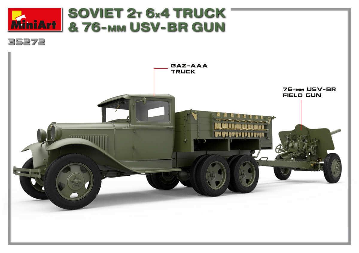 โมเดลรถบรรทุกโซเวียต MI35272 SOVIET 2T 6X4 TRUCK & 76-mm USV-BR GUN