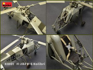 Kit contains 185 parts for assembling models of helicopter Fl 282 V-6 KOLIBRI in 1/35 scale. HIGHLY DETAILED MODEL TOTAL PARTS COUNT OF 185 173 PLASTIC PARTS 12 PHOTOETCHED PARTS DECAL SHEETS FOR 4 VARIANTS