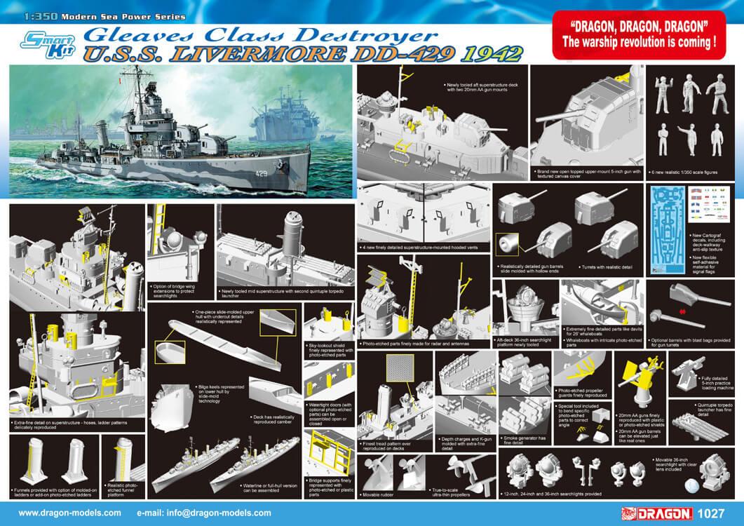 โมเดลเรือรบ Dragon DGM1027 U.S.S Livermore 1/350