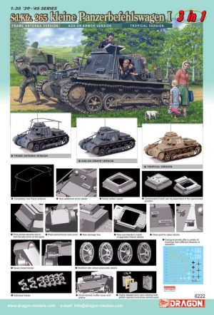 โมเดลรถถัง Dragon DR6222 Pz.Kpfw.I Ausf.B Panzerbefehlswagen 1/35