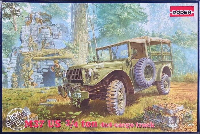 โมเดลรถทหาร Roden Dodge M37 ¾ton 4×4 Cargo Truck 1/35