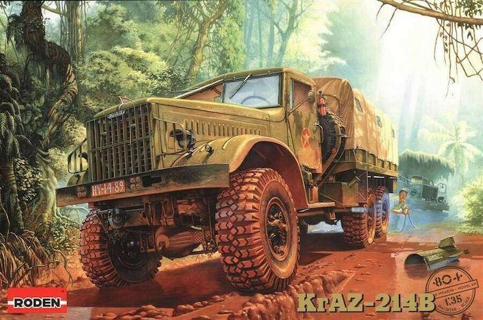 โมเดลรถบรรทุก Roden RO804 KRAZ-214B Soviet Military Truck 1/35