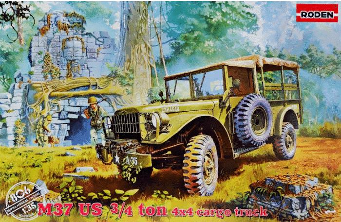 โมเดลรถบรรทุก Roden RO806 M37 US 3/4 Ton 4x4 Cargo Us Truck 1/35