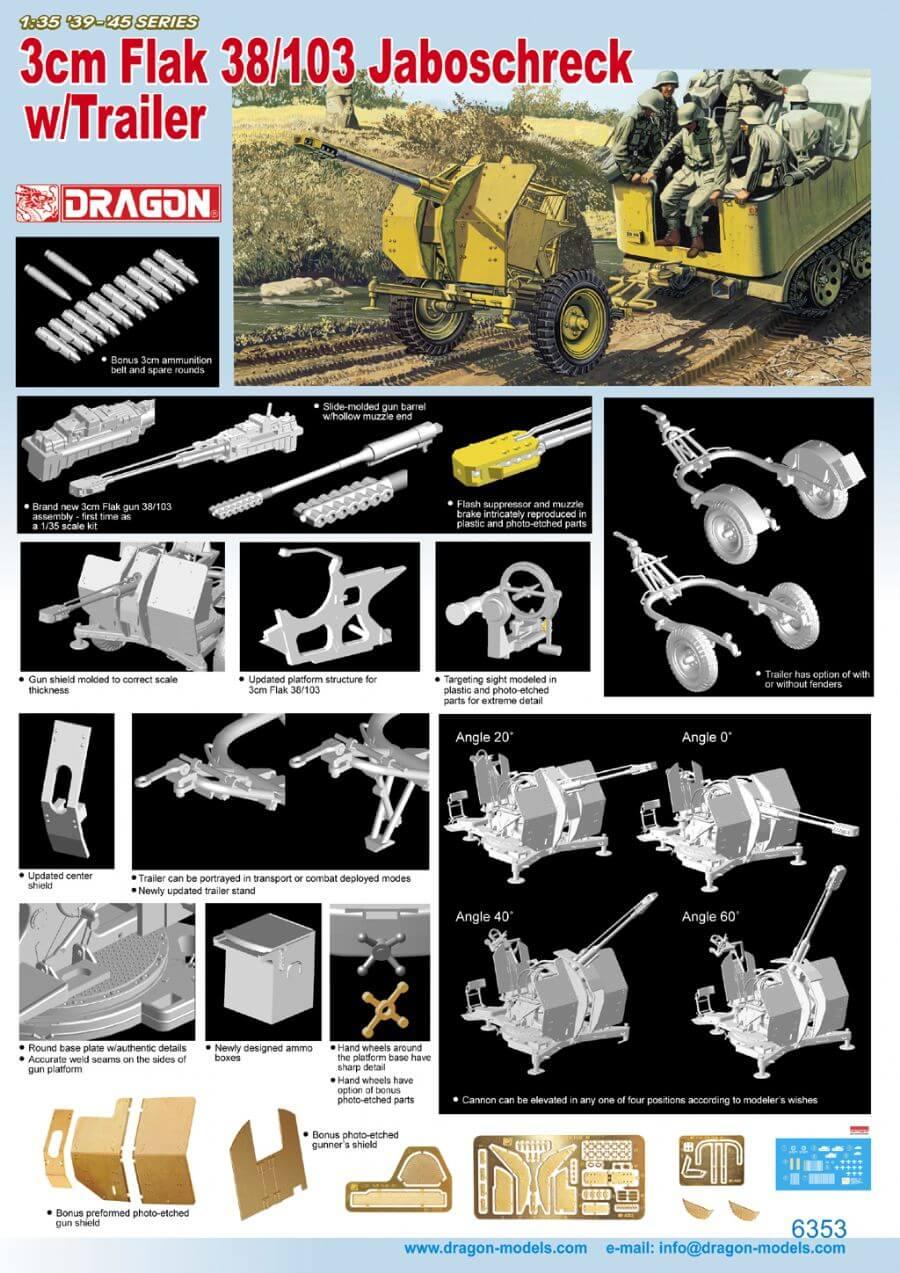โมเดลรถถัง Dragon DR6353 3cm FLAK w/Trailer 1/35