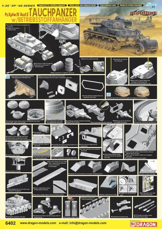 โมเดลรถถัง Dragon DR6402 Tauchpanzer IV w/Trailer 1/35