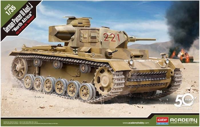 รถถัง Academy 13531 GERMAN PANZER III Ausf.J NORTH AFRICA 1/35