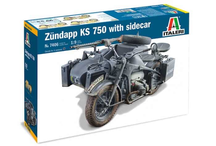 โมเดล Italeri 7406 ZUNDAPP KS 750 with Sidecar 1/9